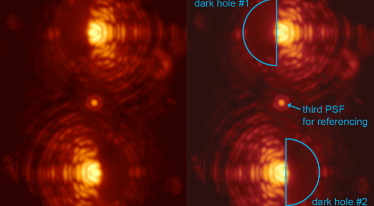 (Click on the image for full picture) Double image of the star Eta Crucis taken through the vector-APP coronagraph installed at MagAO. The two main images of the star exhibit D-shaped dark holes on complementary sides. Coronagraphic phase pattern designed