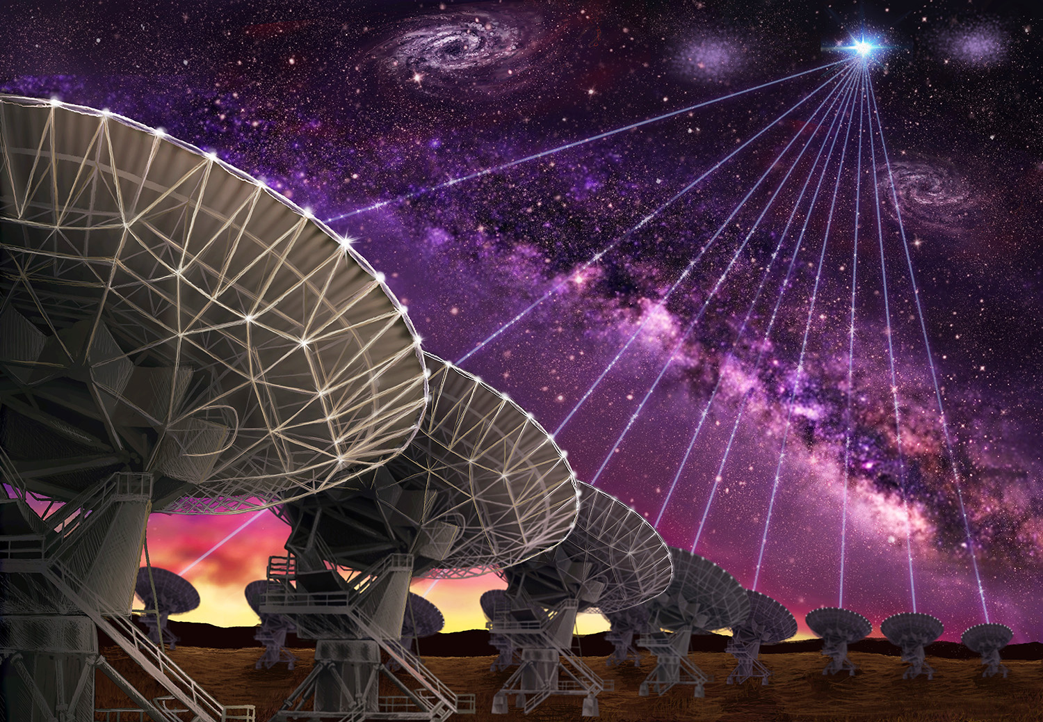 The dishes of the Karl G. Jansky Very Large Array are seen making the first-ever precision localization of a Fast Radio Burst, and thereby pointing the way to the host galaxy of FRB121102.    Credit: Danielle Futselaar (www.artsource.nl)